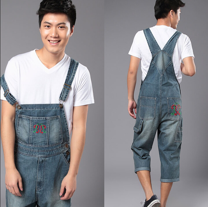 Фотография New Fashion Reminisced Men vintage Casual Jeans  Loose Plus Size Overalls Zipper Denim Jumpsuit Men Pants
