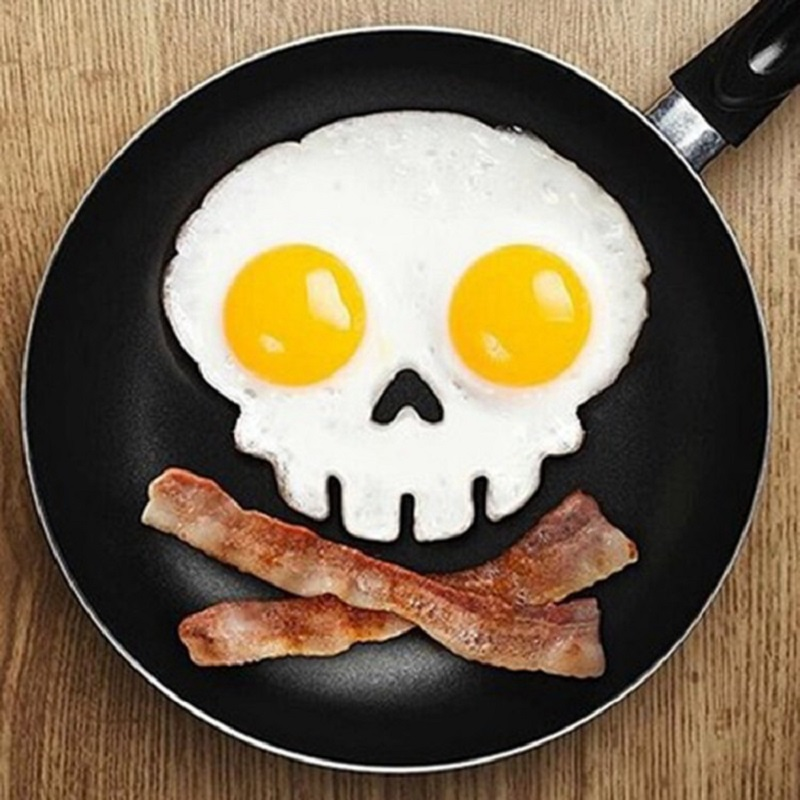 Non-stick Skull Silicone Mold Egg Pancake Ring Unique Design Fried Egg Mold Kitchen Cooking Tools Silicone Egg Tools(China (Mainland))