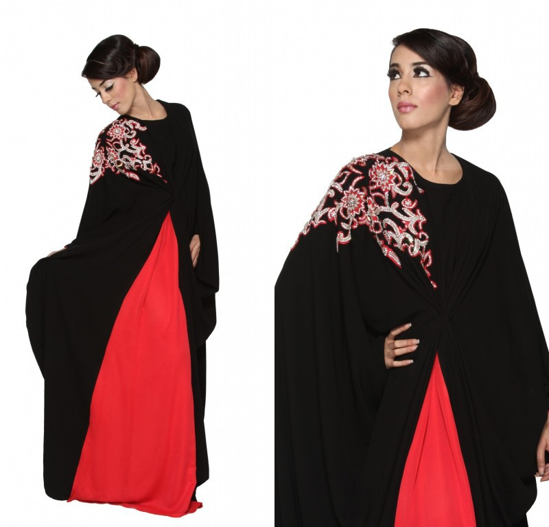 2014 new design abaya Jewel Embriodery Beaded Long sleeve Black and red Long abaya muslim dress(China (Mainland))