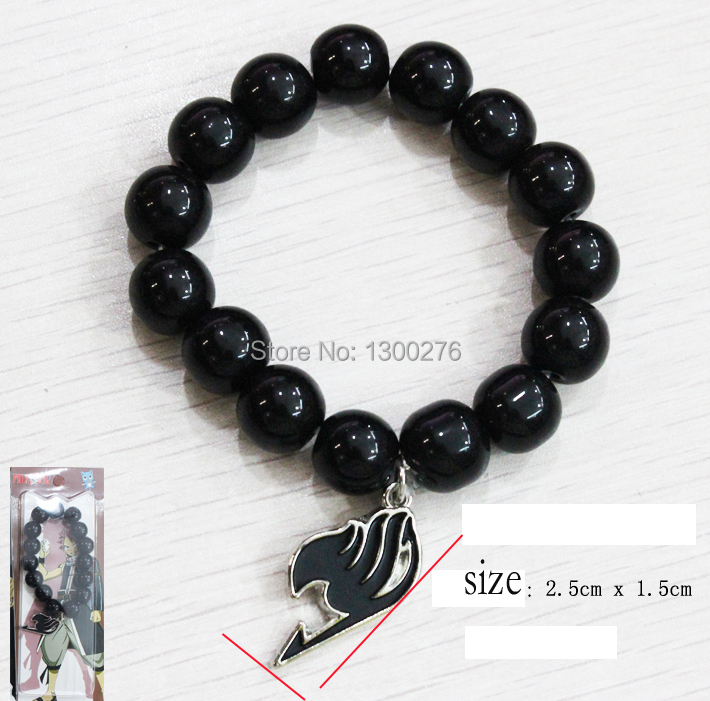 FREE SHIPPING Fairy Tail Natsu Dragneel black bracelet Bangle cosplay fashion beads Bangle