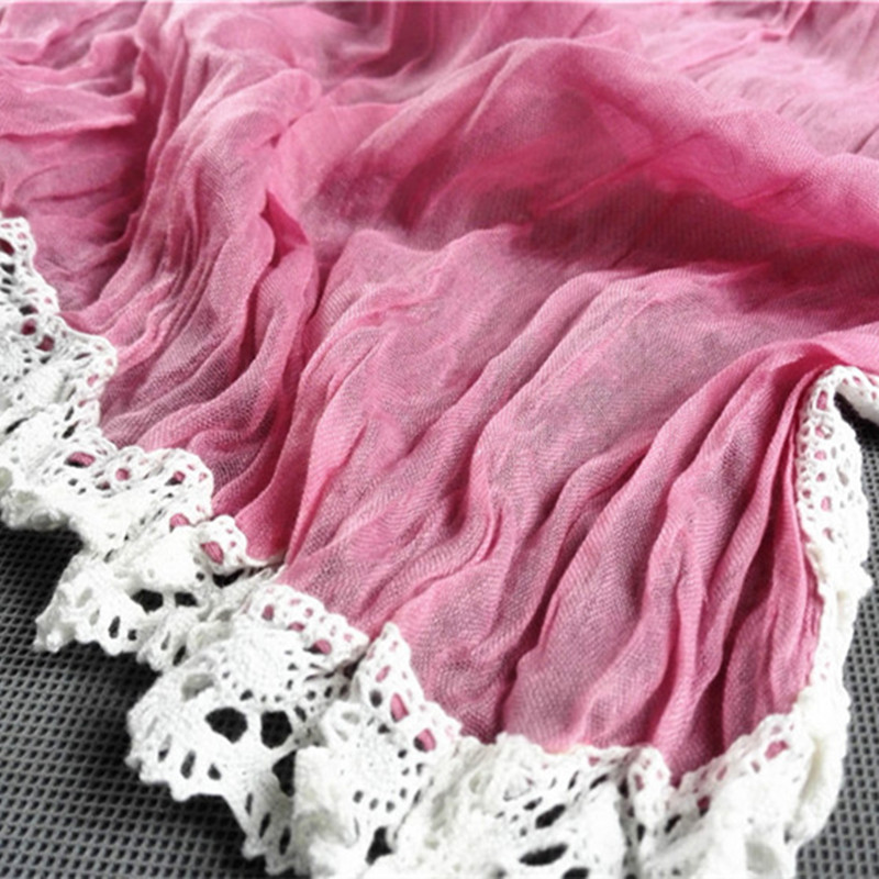 Fashion Women's Long Crinkle Scarf Wraps Soft Shawl Stole Pure Color Hot sales(SMT079) - JIAXING NATION SILK CO;LTD. store