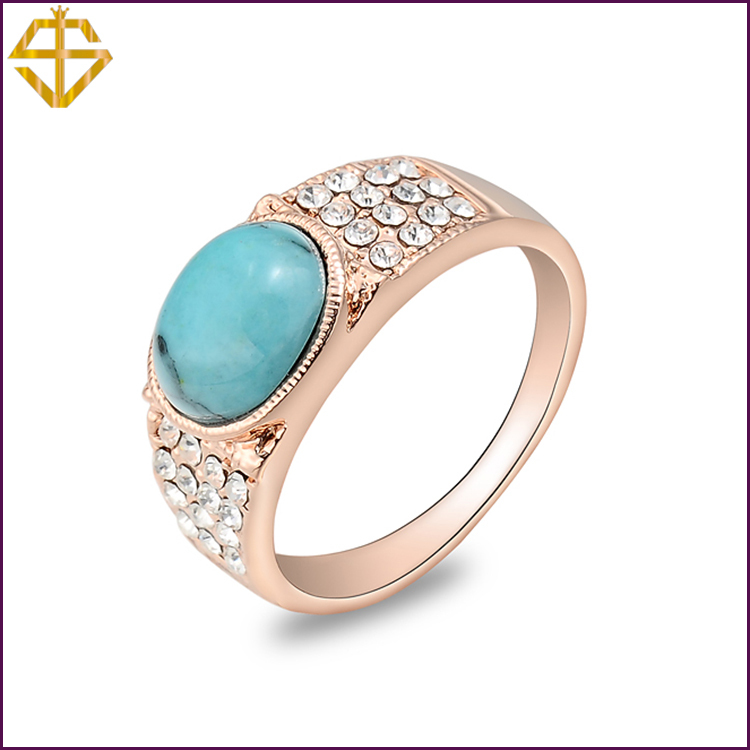 SI Fashion Jewelry/Antique Big Oval Turquoise Ring 18K Gold Plated Gift for women/ For wholesale(China (Mainland))