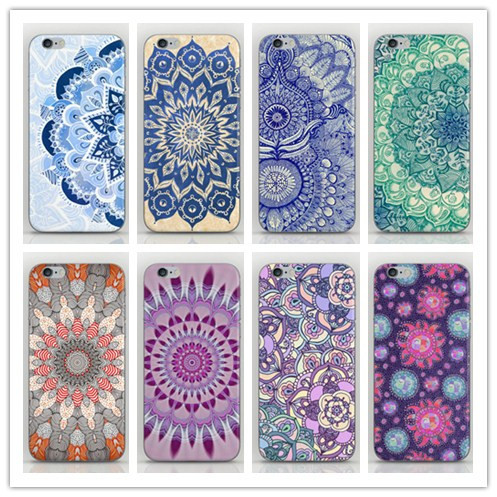 Free Shipping 1pcs Duff Mandala Porcelain Flower Style High Quality Plastic Hard Back case for iPhone 4 4s cell phone sets(China (Mainland))