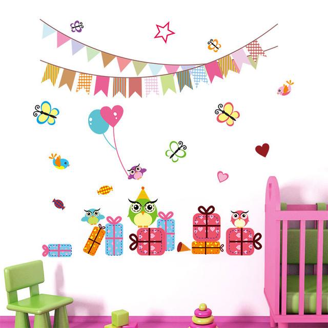 День рождения ну вечеринку вымпелы стены наклейки надписи флаг шар подарок бабочки 1023 стены стикеры для детей детская комната