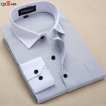 Мужчины рубашка полоска рубашка мужчины марка бизнес свободного покроя длинный рукав ...