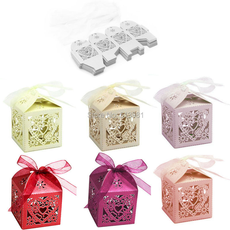 New 100Pcs/Set Love Heart Wedding Party Favour Table Sweets Candy Boxes With Ribbon 7 Colors(China (Mainland))
