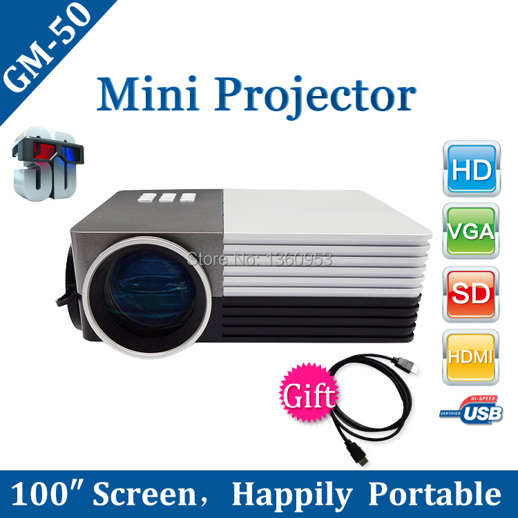 2015 New GM50 Mini LED Projector projektor proyector Theater For Projectors Movie Support HDMI VGA AV Portable beamer Wholesale(China (Mainland))
