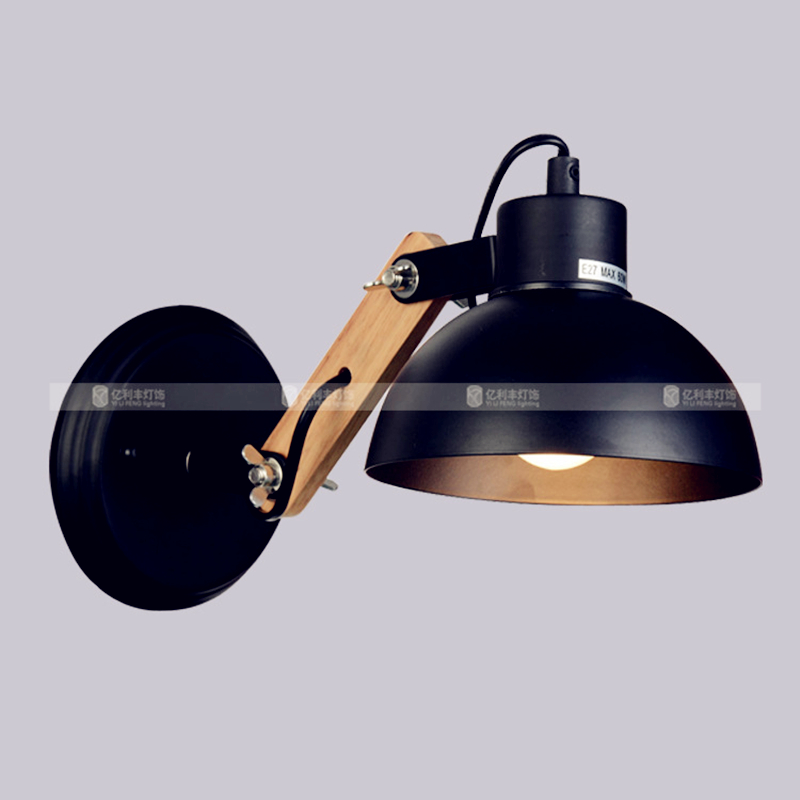 Top Grade Wood Handcrafted Swing Arm Light Sconce LED Wall Lamp Nordic Style For Study/Foyer Home Decoration Lighting E27 black(China (Mainland))