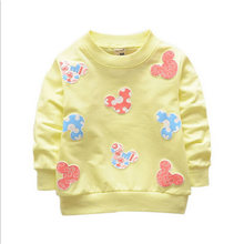 2016 New Arrival Baby Girls Sweatshirts Spring Autumn sweater cartoon 6 Cats long sleeve T-shirt Character baby kids clothes(China (Mainland))