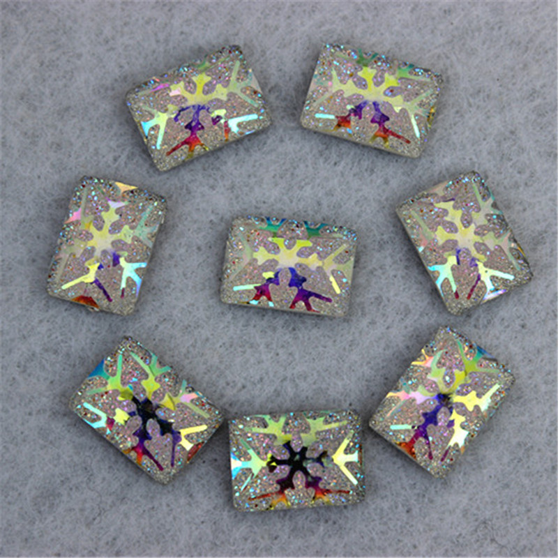 100PCS 12mm AB color New Snowflake rectangle Resin Rhinestone Dance Costumes Handicraft Accessory DIY ZZ63(China (Mainland))