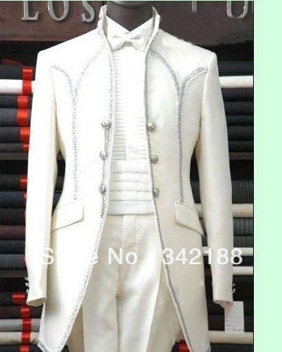 Top sell custom made cheap new style white men wedding tuxedos wear
