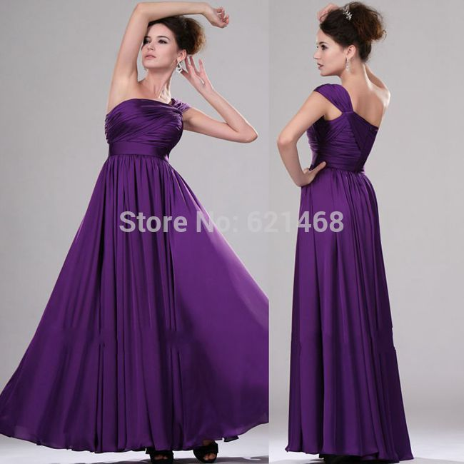 Aliexpress Buy Western Style Royal Purple Real Picture Wedding One Shoulder Chiffon