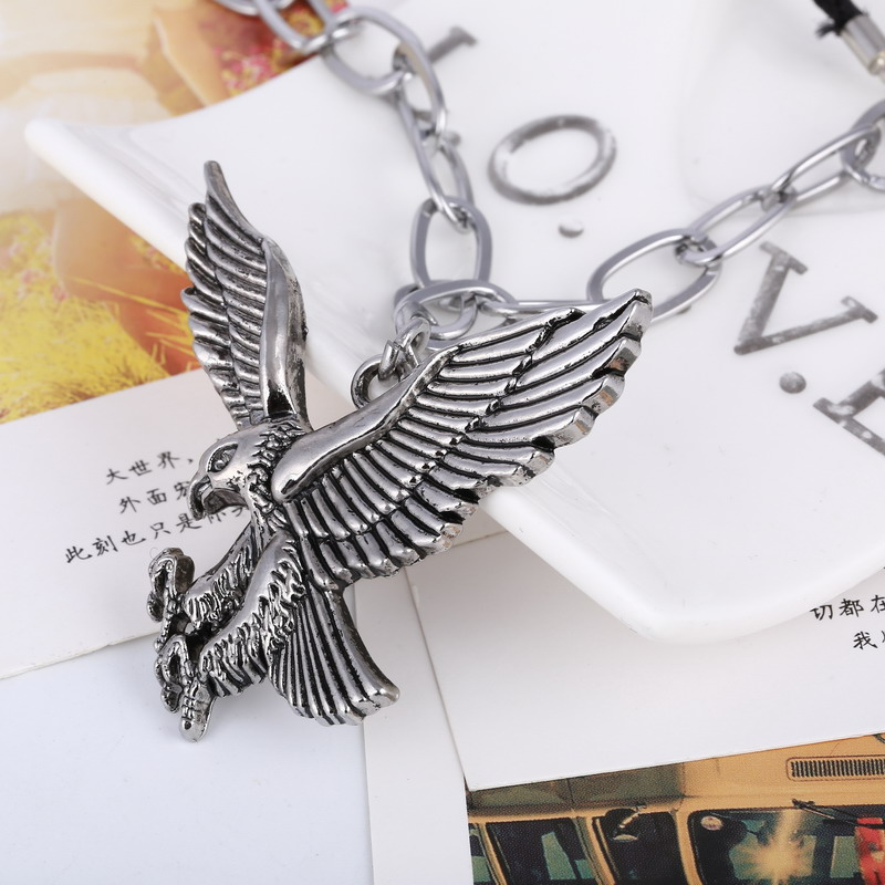 Fashion Punk Men Pendant Necklace Vintage Stainless Steel Eagle Statement Necklace Summer Style Rope Jewlery Wholesale Gifts(China (Mainland))