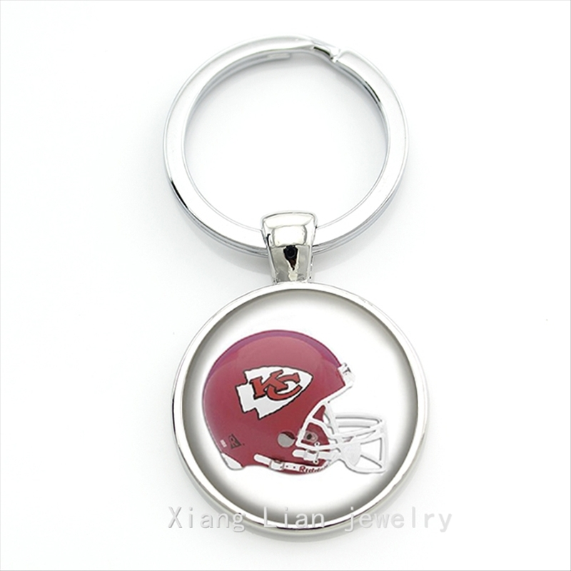 Hot sale brand design red helmet picture keychain case for Kansas City Chiefs team Newest mix 32 NFL team NF156(China (Mainland))