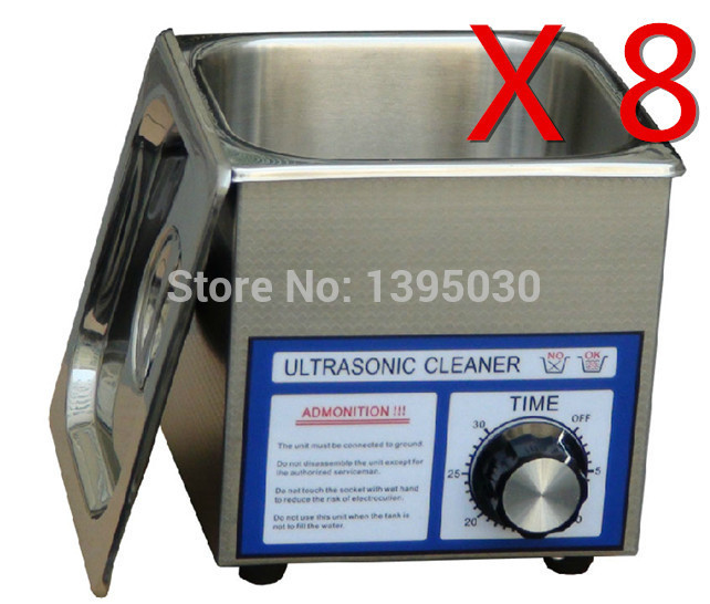 8PCS/Lot Free Shipping By DHL Digital PS-08T 110/220V Ultrasonic Cleaner 60w 40khz 1.3L For Jewely ,Gleases ,Watches With Basket<br>