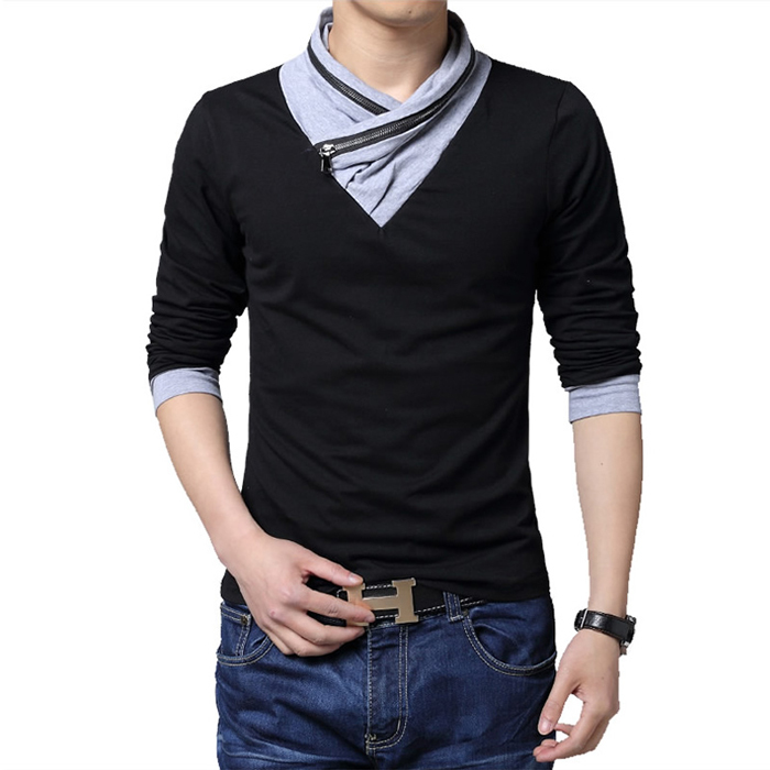 Fashion new arrival mens long sleeve casual t shirt slim for Mens collared t shirts