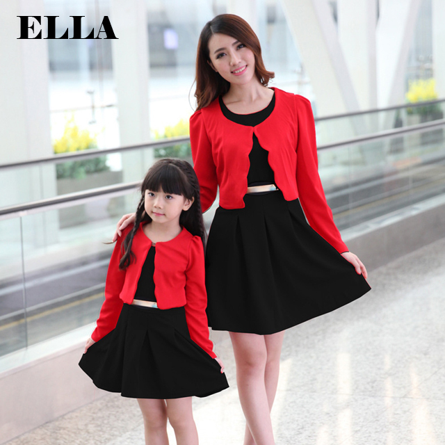 Mother daughter dresses family look girl and mother long sleeve dress Family clothing sets Vestido de familia ropa madre e hija <br><br>Aliexpress