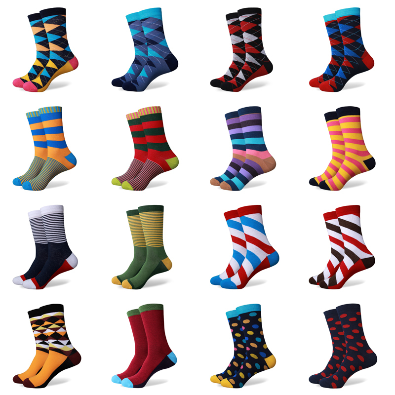 hot sale casual new style men's combed cotton colorful socks brand man dress knit socks free shipping us size(7.5-12)(China (Mainland))