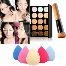 Free shipping New 15 Colors Cream Makeup Concealer Palette + Water Sponge Puff Powder Brush #BSEL(China (Mainland))