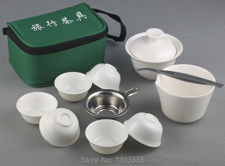 10 PCS Set New 2014 Travel Chinese Tea Set Ceramic Portable Kong Fu Tea Set Teacup