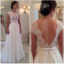 White Lace Chiffon wedding Dresses Simple backless Sexy Cap Sleeves bridal gowns vestidos de Noiva Wedding Dress 2015 AC034(China (Mainland))