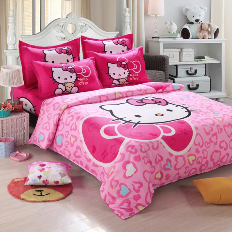 Free express delivery shipping Fashion Luxury 3D Cotton Print Bedding sets Duvet Cover Bed sheet Twin Queen Pink Hello Kitty(China (Mainland))