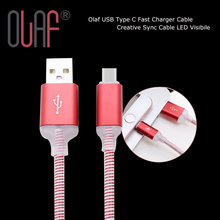 Olaf USB Tipo C Cable de Sincronización Cable Cargador Rápido Creativo LED Visibile y tipo-c usb cable cargador para samsung/sony/xiaomi mi5(China (Mainland))