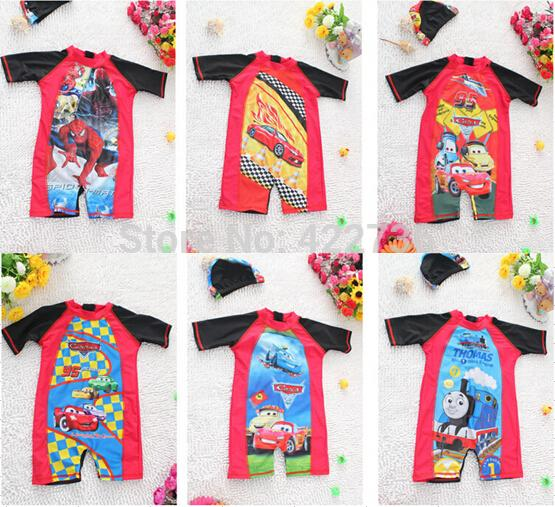2015 Child One Piece Rash Guard Kids Boys Mickey Thomas Spider-Man Diving Surfing Snorkeling Suit Cap Lycra Clothes For Wetsuit(China (Mainland))
