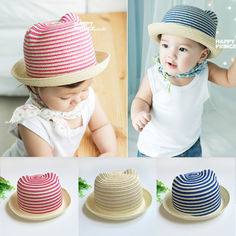 Striped Straw Baby Hats Sun Cap Kids Toddler Infant Boys Girls Fashion Cute Ears Beach Visor Outdoor Summer Hat 2016 Brand Hot(China (Mainland))