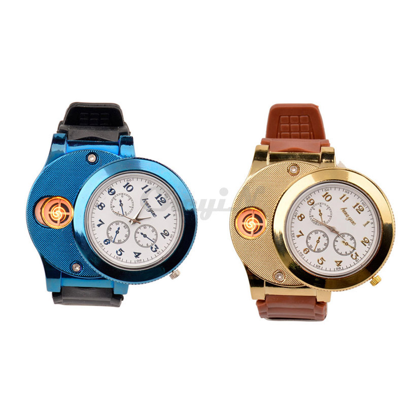 Fashion Mens Casual Quartz Wristwatches Reclargeable USB Lighter Watch Windproof Flameless Cigarette Cigar Lighter Mens Watches<br><br>Aliexpress