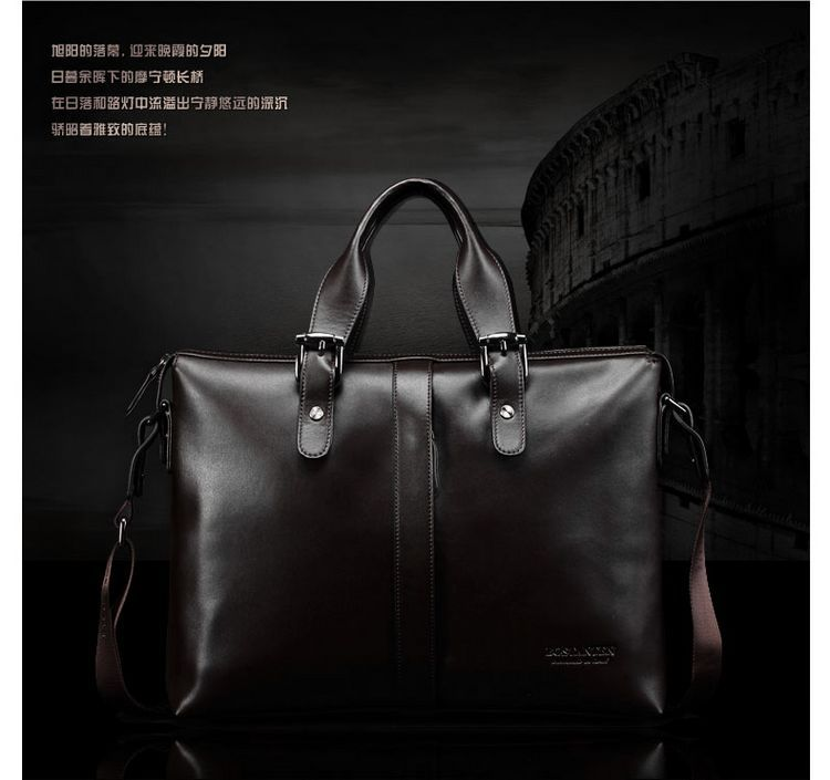 Bostanten New Men's Genuine Cowhide Leather Fashion Handbag