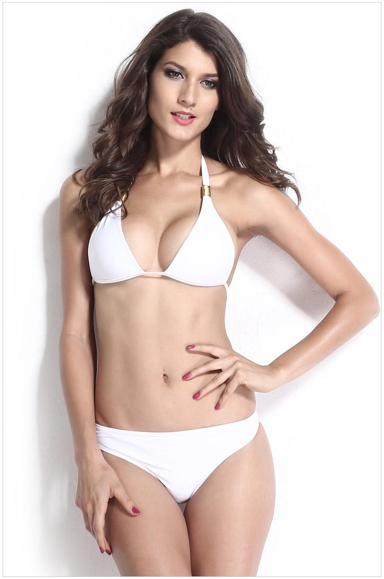 2016 New Womens/ Ladies Sexy Swimsuit White Metal Panel Halter Bikini Set AXD736(China (Mainland))