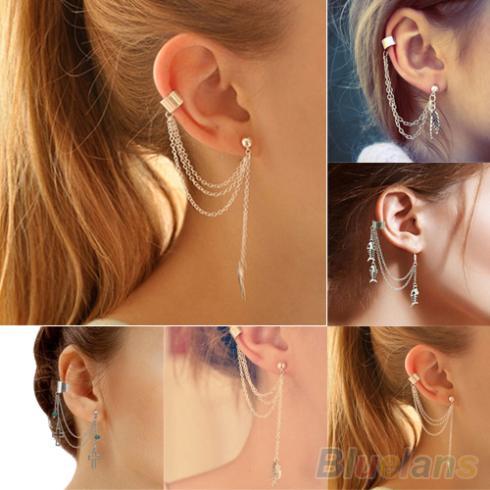 1PC Punk Silver Tassels Chain Leaf Fish Cross Charms Metallic Ear Wrap ear cuff earrings 2J91(China (Mainland))