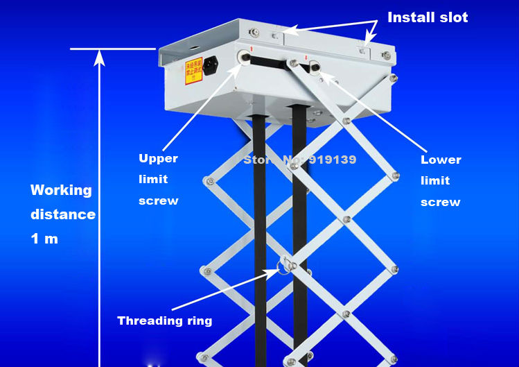 Good Quality Motorized Scissor Projector Lift Remote Control Electric Ceiling Mount Bracket For Cinema Church Hall