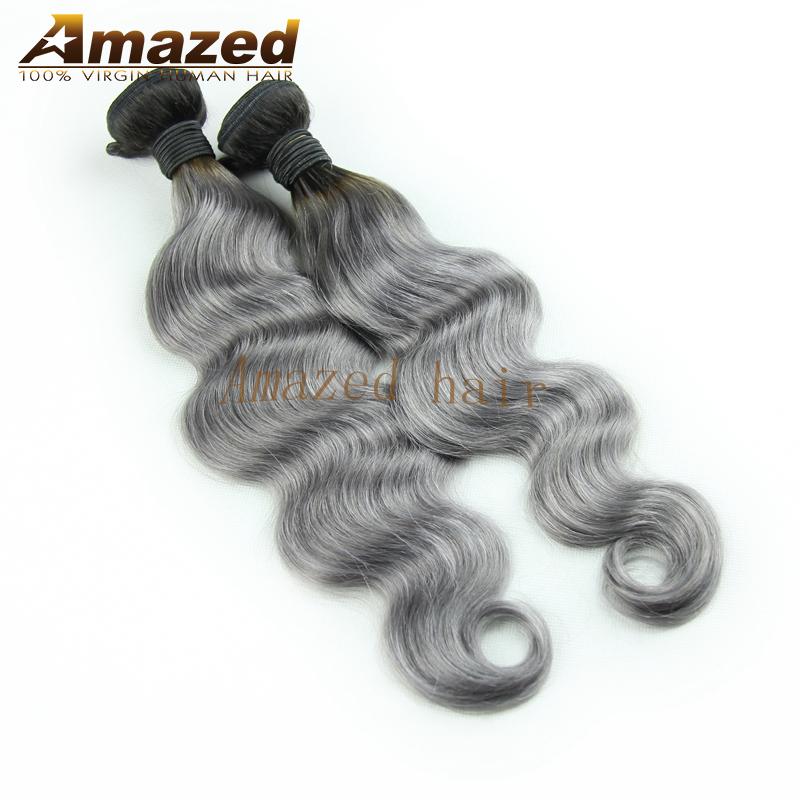 Ombre Hair Extensions 1B/Grey Ombre Grey Hair Weave Brazilian Virgin Human Hair 7A grade Dark Root Ombre Grey Hair Extension<br><br>Aliexpress