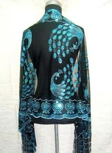 Hot SELL Gorgeous Paillette Women's Silk Sequin peafowl Shawl/Scarf Wrap black/turquoise(China (Mainland))