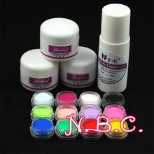 12 unid color polvo de acrílico + acrilico liquido 75 ml Set falso acrílico Nail Art Salon herramienta profesional rusia envío gratis(China (Mainland))
