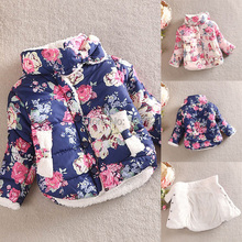 Baby Warm Princess Girls Floral Thick Outerwear Long Sleeve Jacket Cotton Coat