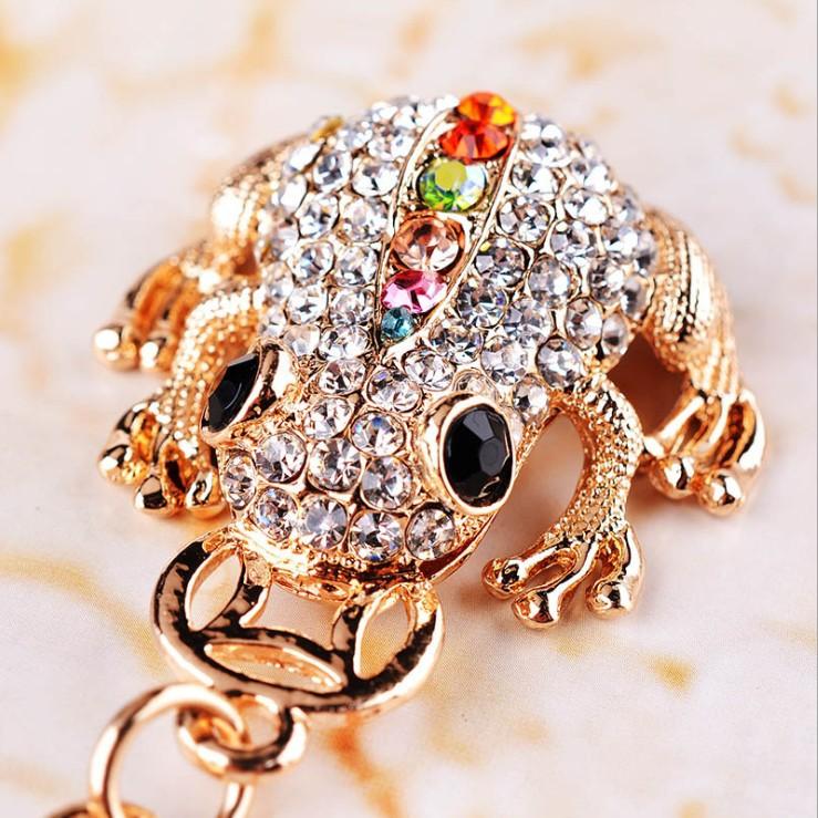 Cute Trinket Rhinestone Car Key Chains Gold Coin Frog Keychain Animal Keyrings Bag Key Fobs New Novelty Souvenir(China (Mainland))