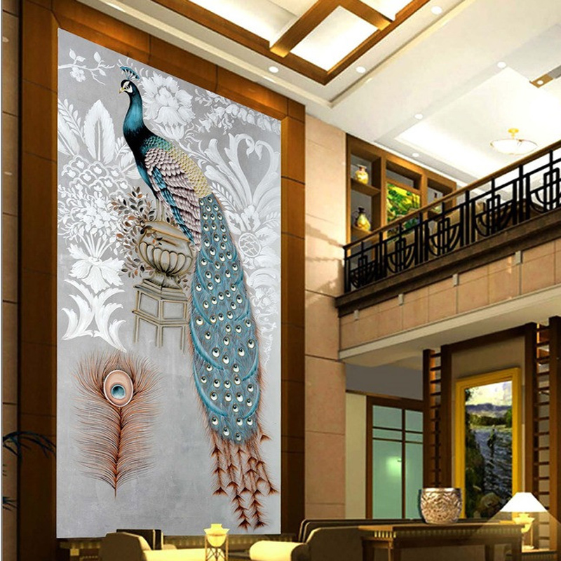 Home Furnishing hall entrance living room decoration modern minimalist style of European Peacock non woven wallpaper 1x3m