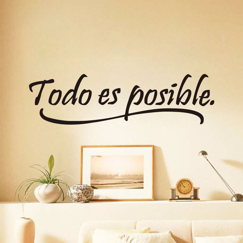 DCTOP Everything Is Possible Spanish Inspiring Quotes Wall Sticker Home Decor Bedroom Kids Vinyl Wall Mural Decal(China (Mainland))