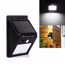 16LED Garden Light Solar Panel Lamp PIR Motion Inductor Sensor Waterproof Mounted Outdoor Fence Wall Lamp Lighting Cool White(China (Mainland))