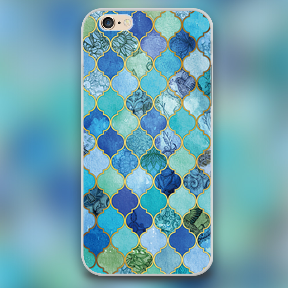 Cobalt Blue, Aqua & Gold Decorative Moroccan Tile Pattern Design cell phone cases for iphone 4 4s 5 5c 5s 6 6s 6plus hard shell(China (Mainland))