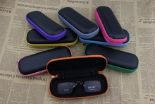 Unisex Plaid pattern black Multicolor zipper Small Glasses box Soft leather Waterproof sunglasses case 5 color options