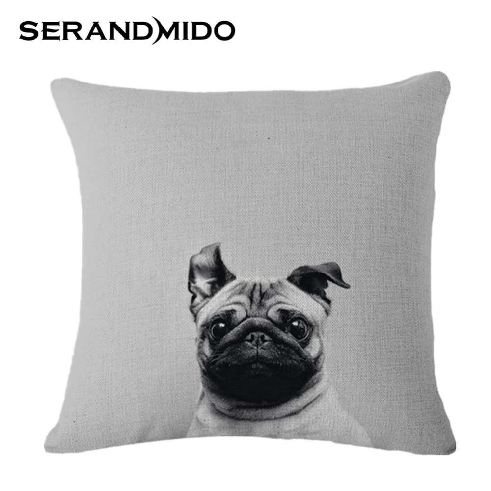 Cotton and Linen Creative Bulldog Cushion Cover Bed Square Cartoon Style Pillow Covers Almofadas for Sofa Set SMC930T()