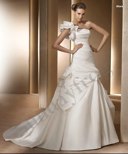 Freeshipping best selling custom made ruched one shoulder for Top of the line wedding dresses