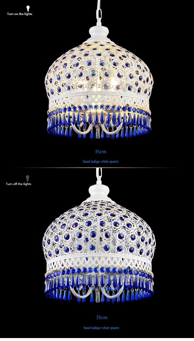 Bohemian Mediterranean Blue Crystal Ceiling Drop Light Pendant Lamp Lampshade Lighting Fixture for Room Restaurant Cafe Decor (13)