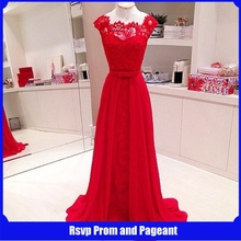 Real Picture Long Lace Evening Dress 2015 Straight Cap Sleeve Floor Length Chiffon Red Long Evening Dresses(China (Mainland))