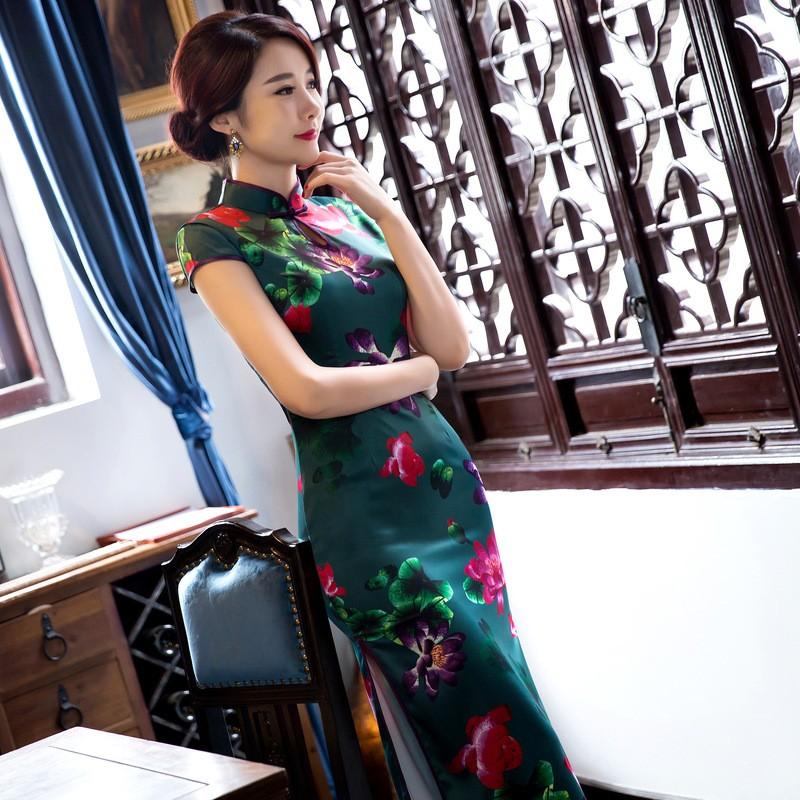 มาใหม่สตรีผ้าไหมยาวCheongsamจีนแฟชั่นสไตล์การแต่งกายที่สวยงามบางQipaoรสเสื้อผ้าขนาดSml XL XXL F072646 ถูก
