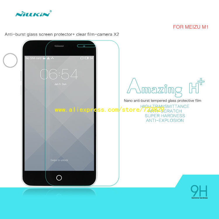 Glass Film for Meizu M1 (5.0 inch) Original NILLKIN Amazing H+ Nano Ant-burst Arc Edge Tempered Glass Screen Protector(China (Mainland))